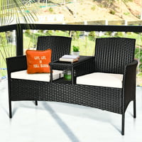 Deals on Costway Patio Rattan Chat Set Seat Sofa Loveseat Table Chairs