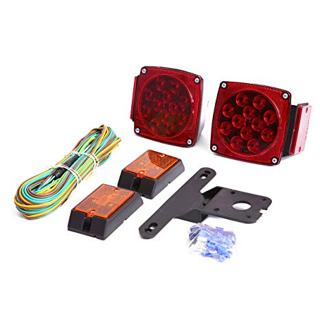 LED Trailer Lights with 4 Reflective Strips CZC AUTO 2PCS 12V LED Submersible Low Profile Rectangular Trailer Lights Sealed for Boat Trailer Truck Marine Tail Stop Turn Running Lights Kit