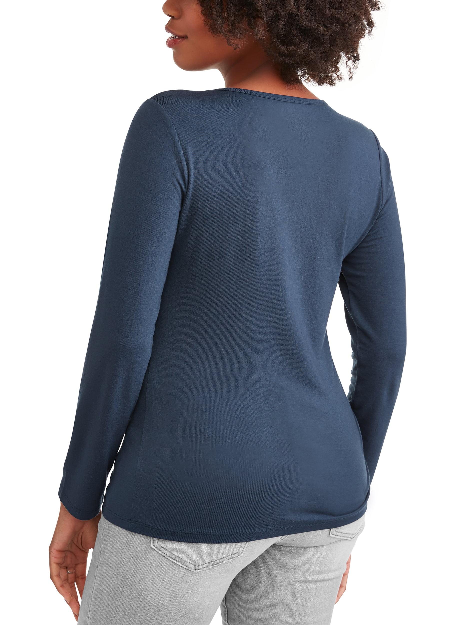 Women's Long Sleeve V-Neck T-Shirt, 2-Pack Bundle