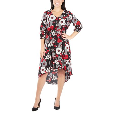 6c533642b5076 NY Collection - Women's Petite Printed High Low V Neck Maxi Dress -  Walmart.com