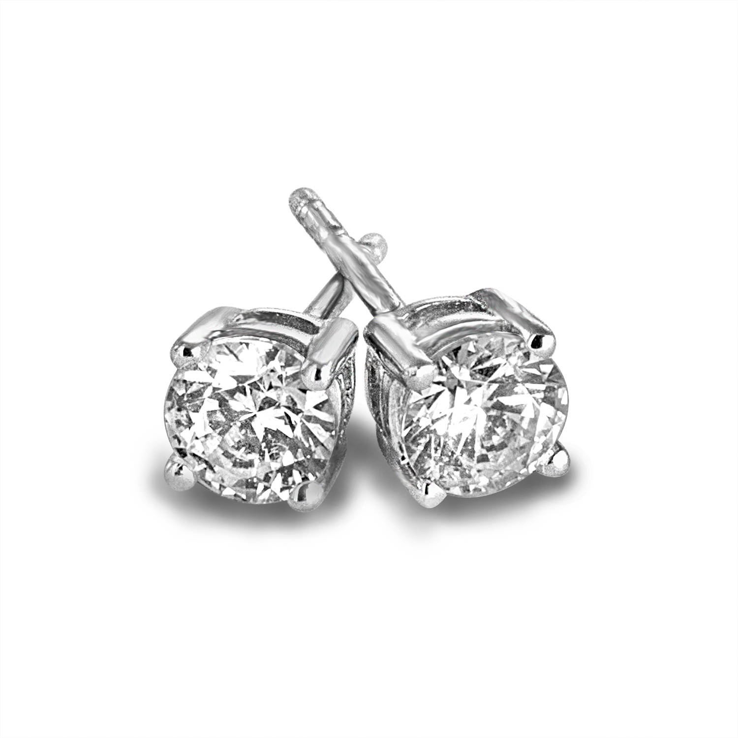 1 Carat T.W. Round Diamond 10kt White Gold Stud Earrings