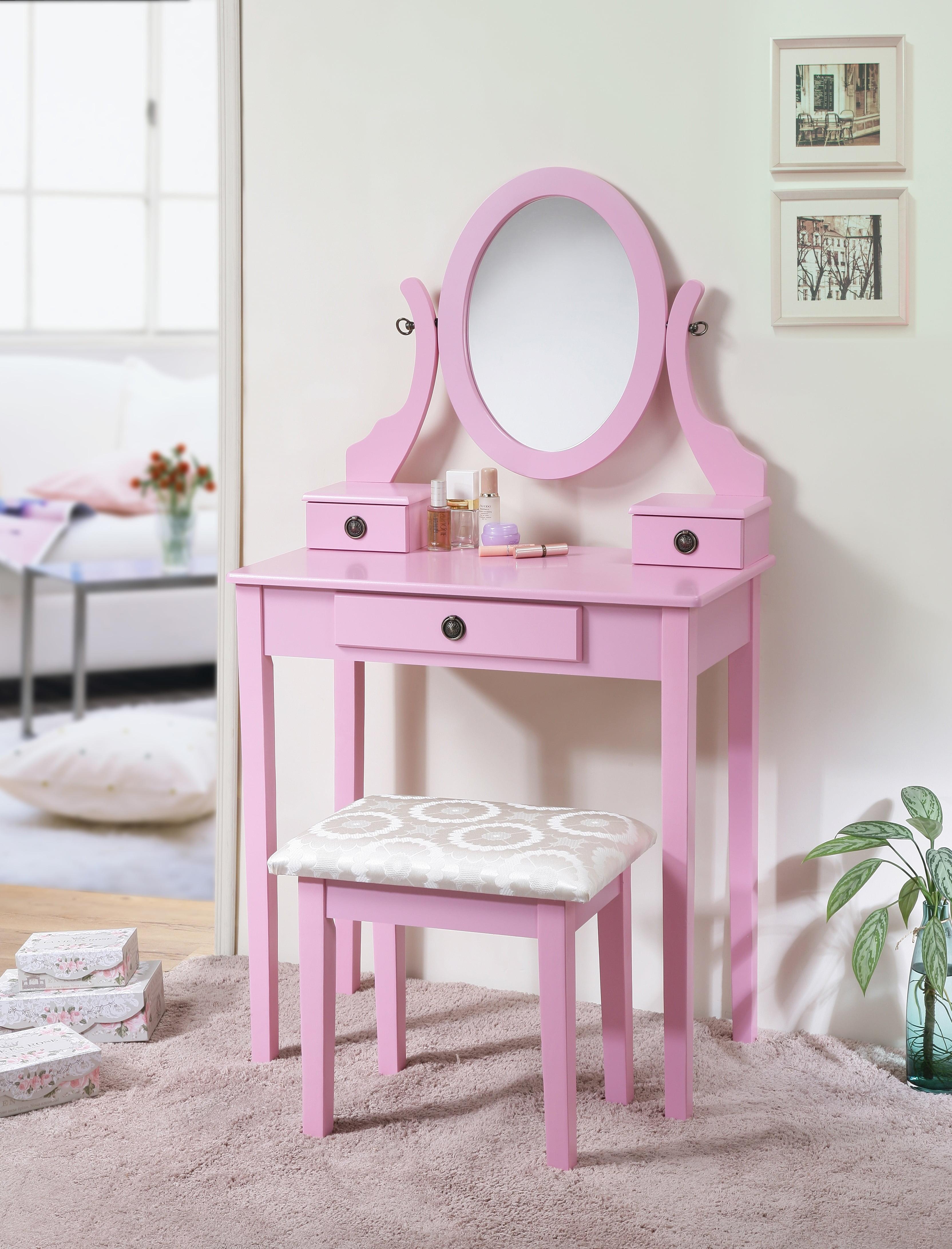 Roundhill Furniture Moniya White Wood Vanity Table and Stool Set by RHF
