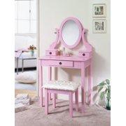 Roundhill Furniture Moniya Wood Vanity Table and Stool Set, Pink