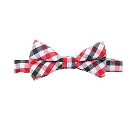 Noah's Boytique Baby Infant Toddler Boy Red Black White Plaid Bow Tie BowTie with Neck Strap Cake Smash Photo Prop](Bow Tie Cake)