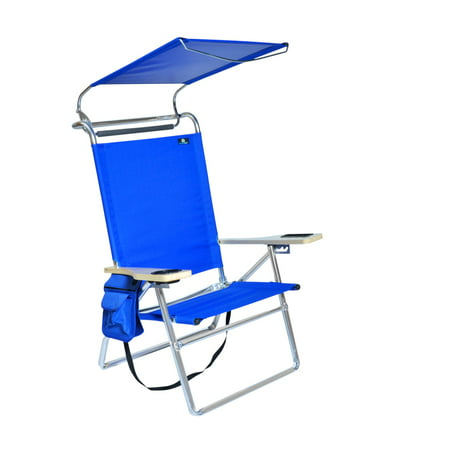 Deluxe 4 Position Aluminum High Beach Chair with Canopy ,Drink Holder, Storage Pouch