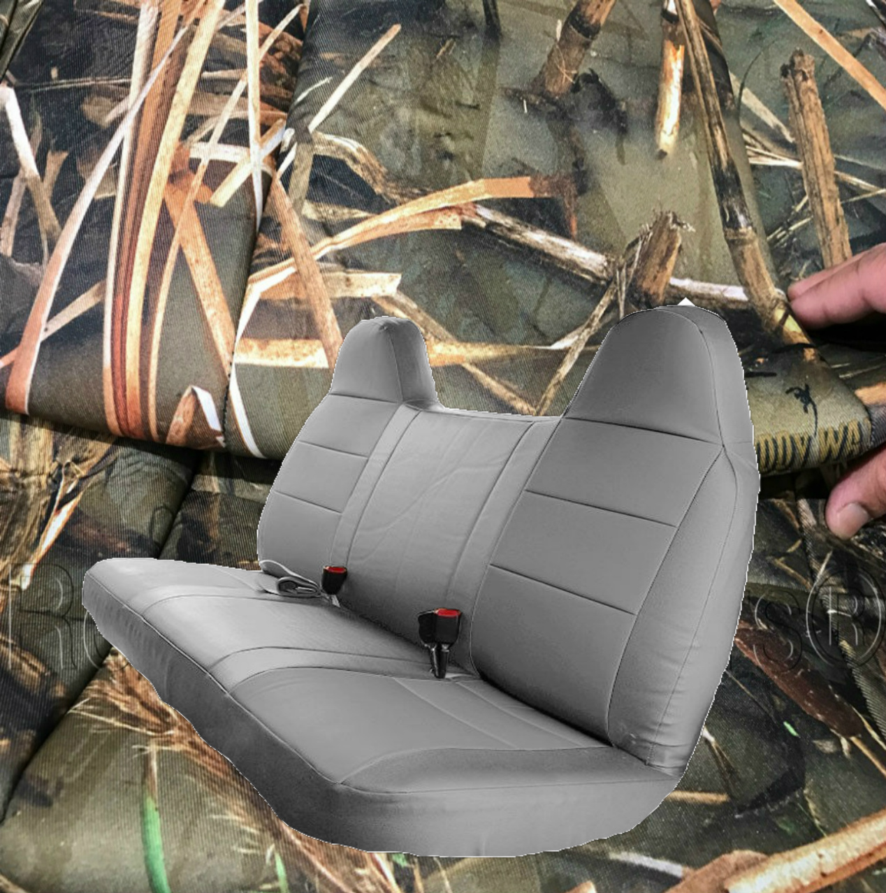 Beige Tan RealSeatCovers for Front Solid Bench Thick F23 Molded Headrest Belt Cutout Exact Fit Seat Cover for Ford F150 F250 F350 F450 F550 F-Series 1992-2010
