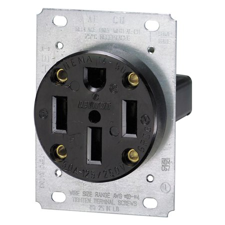 Non Nema Locking Flush Receptacle (279 50 Amp, 125/250 Volt, NEMA 14-50R, 3P, 4W, Flush Mounting Receptacle, Straight Blade, Industrial Grade, Grounding, Side Wired, Steel Strap, Black, Built of durable.., By Leviton )