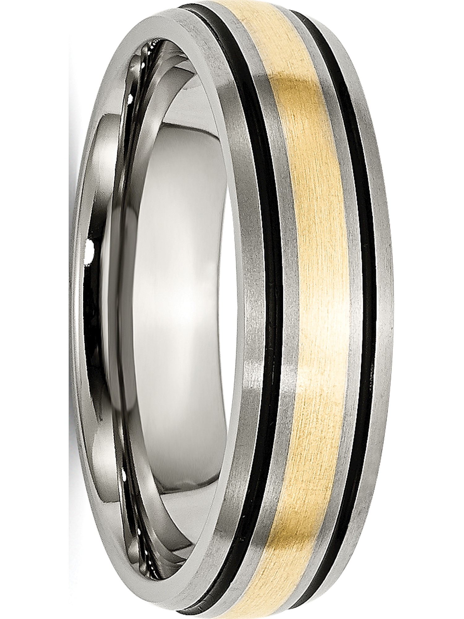 Titanium Grooved 14k Yellow Inlay 6mm Brushed and Antiqued Band