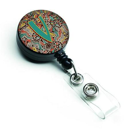 Carolines Treasures CJ2013-VBR Letter V Retro Tribal Alphabet Initial Retractable Badge Reel - image 1 of 1