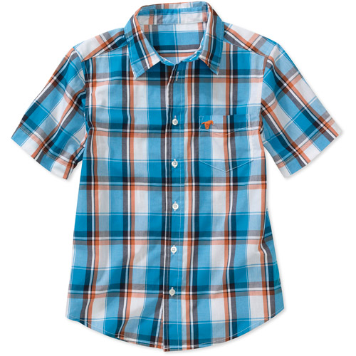Wrangler Boys Short Sleeve Poplin Plaid Shirt