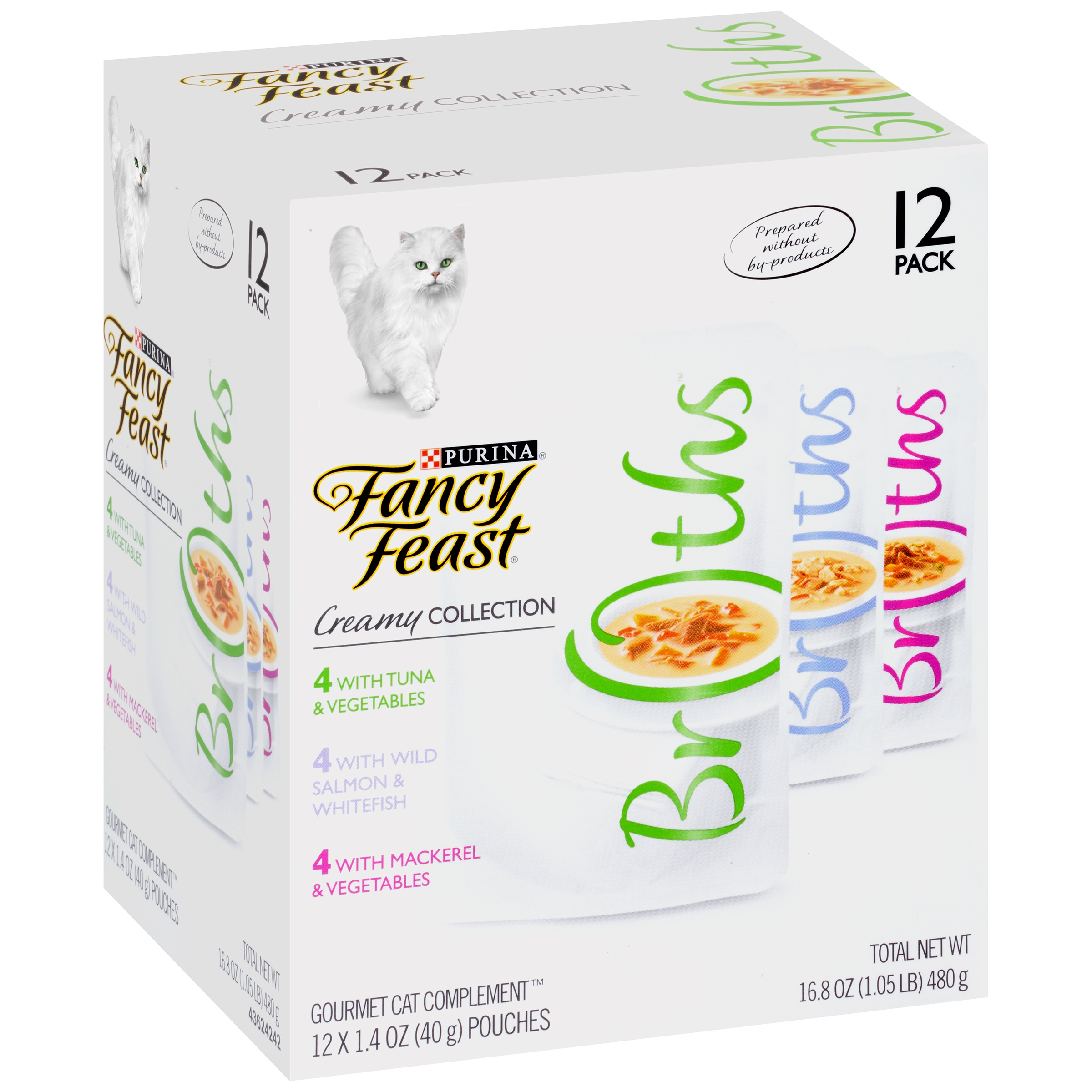 Fancy Feast Creamy Broths Collection Cat Complement Wet Cat Food,1.4 Oz. Pouches (12 Pack)