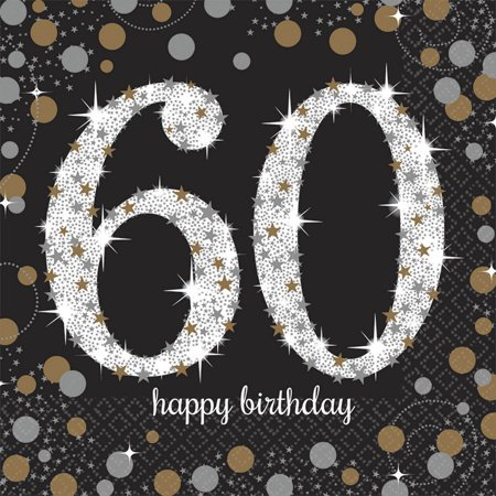60th Birthday Color Scheme (Sparkling Celebration 60th Birthday Lunch Napkins)