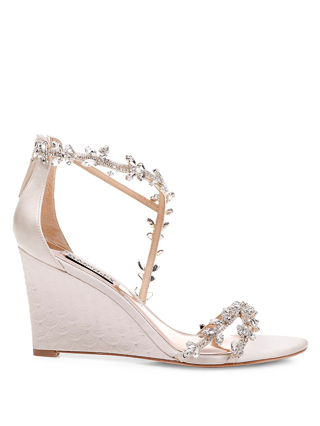 Feather Embellished Satin Wedge Sandals