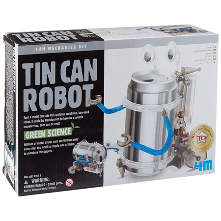 4M Tin Can Robot Kit Each, Includes: Working parts, motor, wheels, arms, googly eyes and full detailed instructions By Toysmith (Green Science Tin Can Robot)