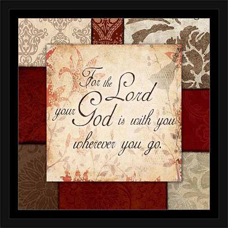 God Is with You Traditional Abstract Panel Religious Typography Red & Tan, Framed Canvas Art by Pied Piper Creative ()
