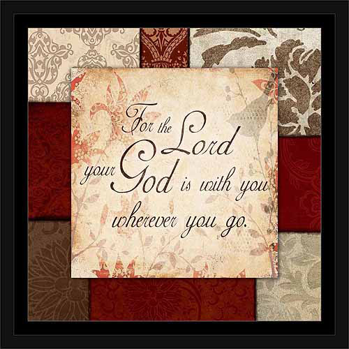 God Is with You Traditional Abstract Panel Religious Typography Red & Tan, Framed Canvas Art by Pied Piper Creative