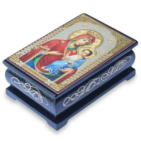 Virgin Mary Icon Wooden Rosary Box