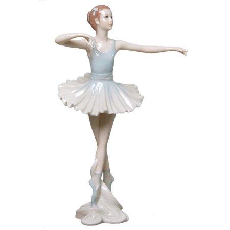 Graceful Porcelain - 8.75 Inch Porcelain Figurine Graceful Ballerina En Pointe Blue Tutu