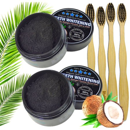 2pc Charcoal Teeth Whitening Powder, Natural Activated Charcoal Coconut Shells + 4 Bamboo Toothbrushes - Safe Effective Tooth Whitener