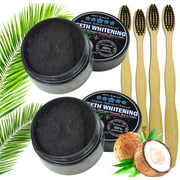 2pc Charcoal Teeth Whitening Powder, Natural Activated Charcoal Coconut Shells + 4 Bamboo Toothbrushes - Safe Effective Tooth Whitener Solution