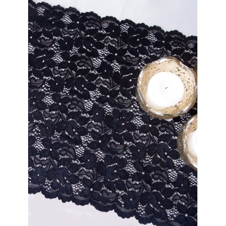 Quasimoon Vintage Black Lace Style No.2 Table Runner (12 x 108) by PaperLanternStore ()