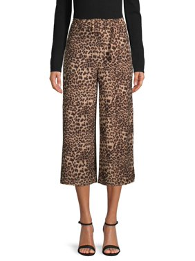 No Comment Juniors' Printed Wide Leg Cropped Pants