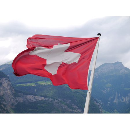 LAMINATED POSTER Switzerland Cross Swiss Flag Flag Poles Flag Poster Print 24 x 36