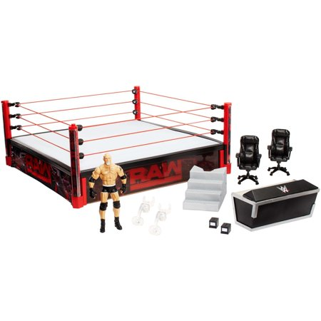 WWE Elite Collection Raw Main Event Ring with Lights & Bill - Wwe Toy Rings