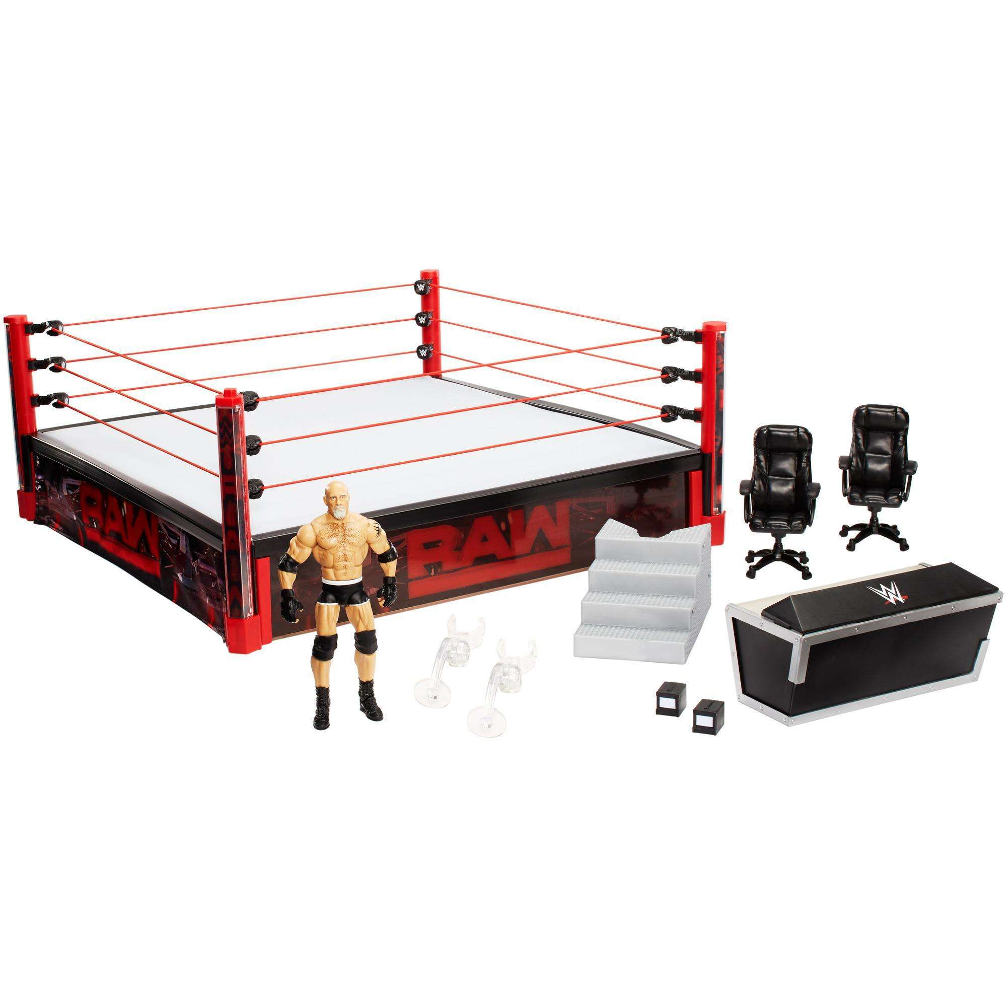 WWE Elite Collection Raw Main Event Ring with Lights & Bill Goldberg