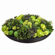 Tori Home 11'' Limes, Apples, Sunflowers and Alliums with Bamboo Plate