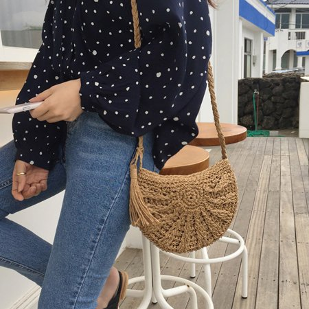 Lady Half Body - Women Straw Bags Half Moon Summer Rattan Bag Handmade Woven Beach Cross Body Bag Bohemia Handbag