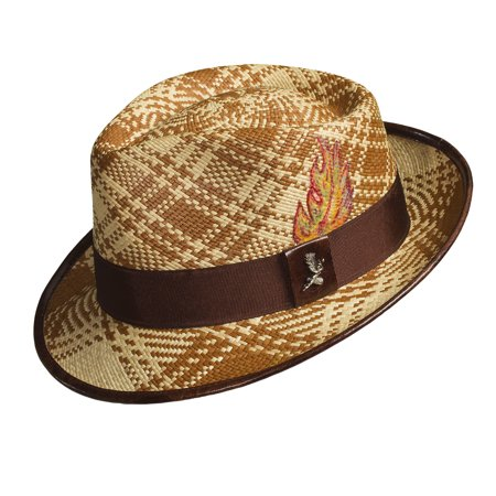 Santana Men's Fenix Panama Checkered Fedora Hat
