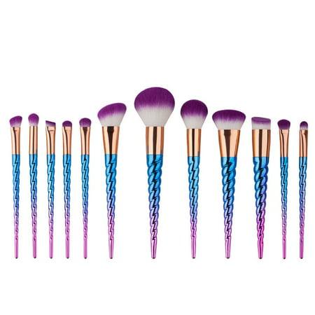 12Pcs Unicorn Makeup Brushes Cosmetic Tool Kit Eyeshadow Powder Brush Set - Old Man Makeup Kit Halloween