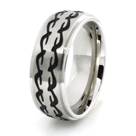 Stainless Steel Dual Barbed Wire Strip Wedding Band Ring