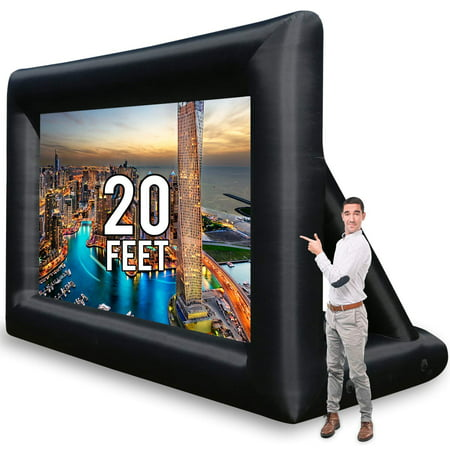 Jumbo 20 Feet Inflatable Outdoor and Indoor Theater Projector Screen - Includes Inflation Fan, Tie-Downs and Storage Bag - Updated (Outdoor Inflatable Screen)