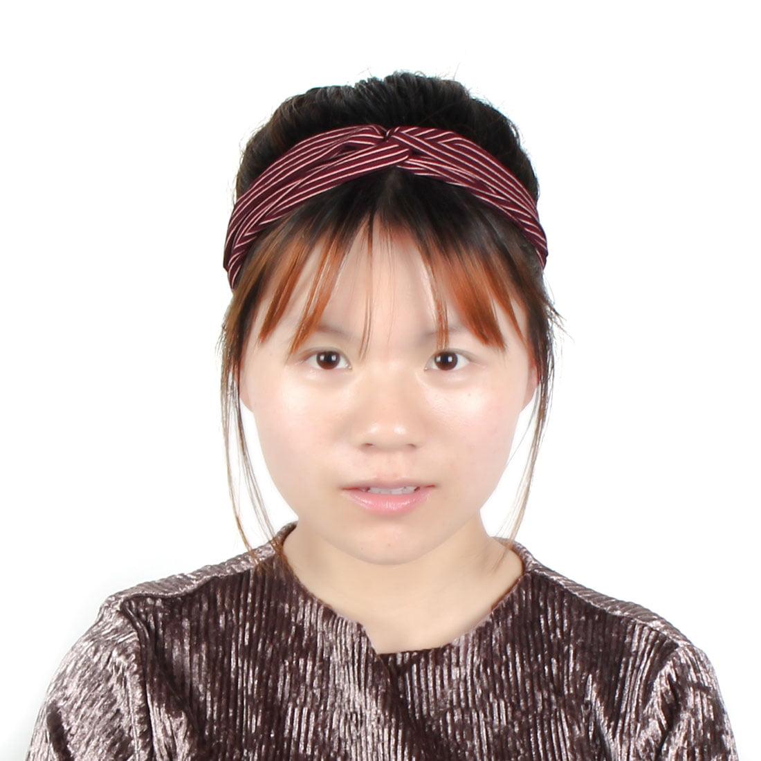 Woman Yoga Hair Wrap Scarf Head Band Sports Elastic Stripe Headband