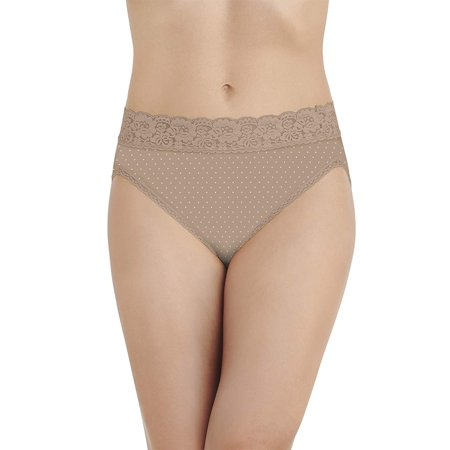Vanity Fair Womens Flattering Lace Hi-Cut Brief, 8, Honey Dot Print