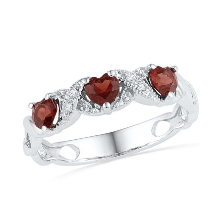 Size - 7 - Solid 925 Sterling Silver Heart Round Red Simulated Garnet And White Diamond Prong Set Curved Wedding Band OR Fashion Ring (.02 cttw)