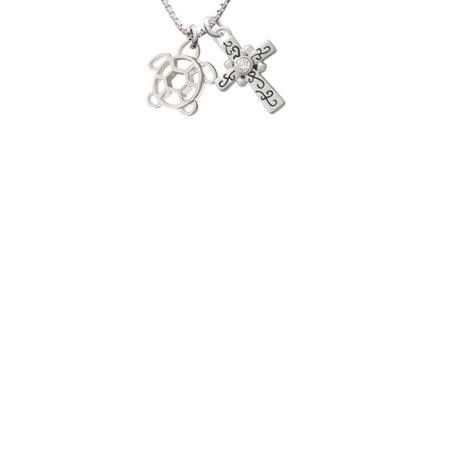 1fd9c8a2461cb Delight Jewelry - Cutout Sea Turtle Scroll Cross Necklace, 18