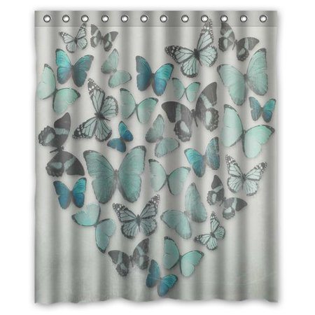 GreenDecor Butterfly Waterproof Shower Curtain Set with Hooks Bathroom Accessories Size 60x72 inches](Butterfly Bathroom)