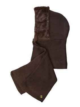 Faux Fur Winter Knit Hood Scarf Cowl