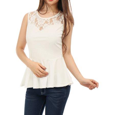 Metallic Lace Ruffle Top (Women's Round Neck Lace-Paneled Hem Ruffle Sleeveless Peplum Top Blouse Shirt White S (US 6))