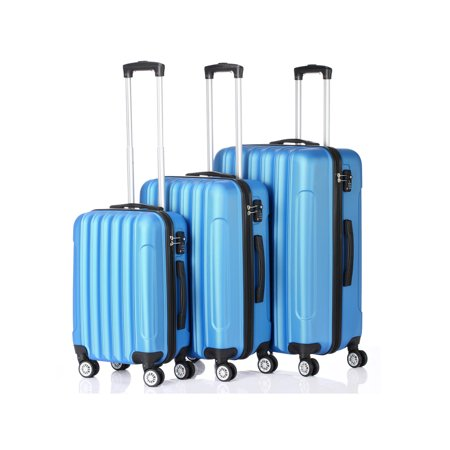 3PCS Luggage Travel Set Bags ABS Trolley Hard Shell Suitcase W/TSA lock With 4 Wheels (Best 4 Wheel Suitcase Review)