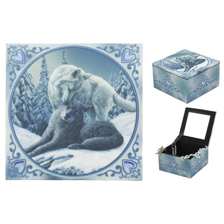 Ebros Blue Valentine Heart Tundra Snow And Gray Wolf Family Mirror Jewelry Box Trinket Keepsake Personal Storage