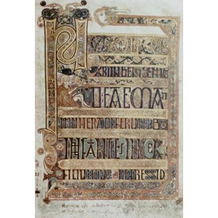 Book Of Kells  800 Ad Artist Unknown Illuminatd Manuscrpt Trinity College Dublin Ireland Poster Print