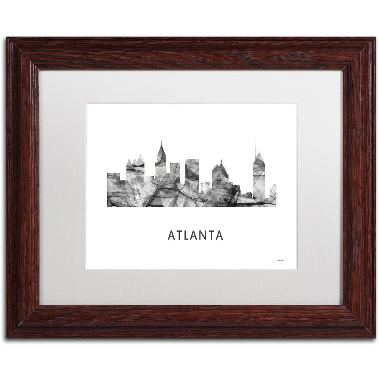 Trademark Fine Art 'Atlanta Georgia Skyline WB-BW' Canvas Art by Marlene Watson, White Matte, Wood Frame