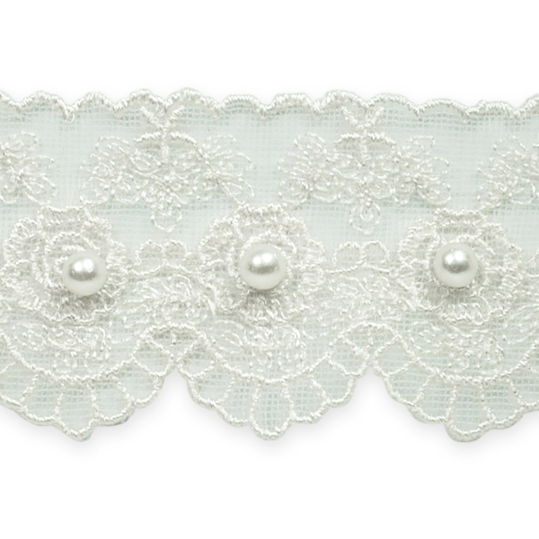 """Expo Int'l 2 yards of 1 5/8"""" Vintage Roses w / Pearl Bridal Lace Trim"""