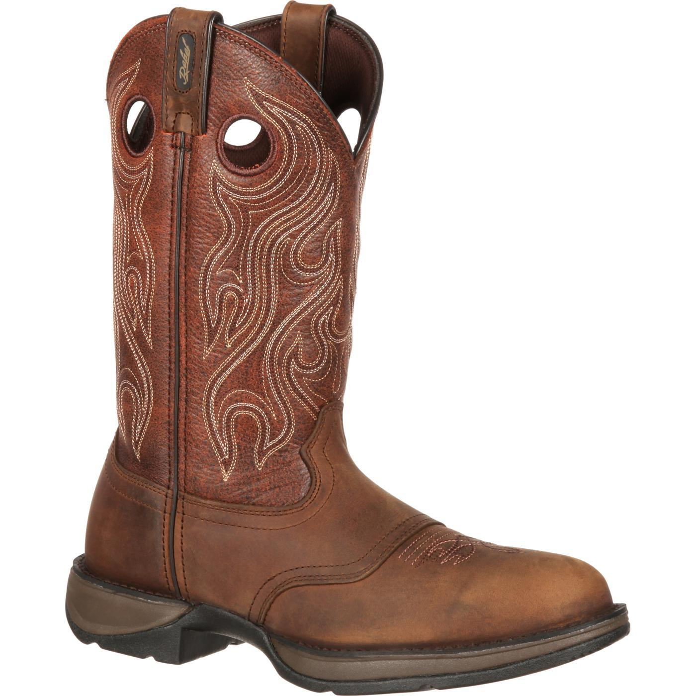 """Durango DB5474 12"""" Rebel Saddle Slip and Oil Resistant Pull On Western Boots by Durango"""