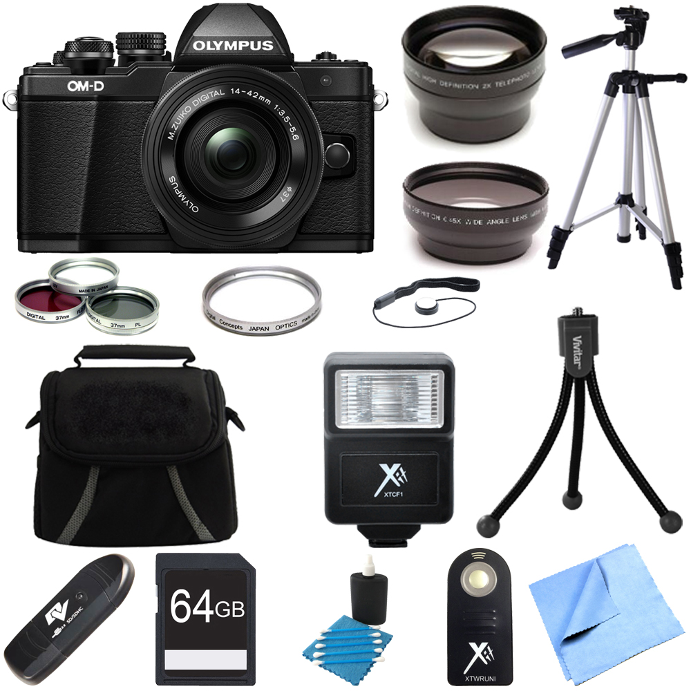 Olympus OM-D E-M10 Mark II Mirrorless Digital Camera 14-42mm EZ Lens 64GB Bundle