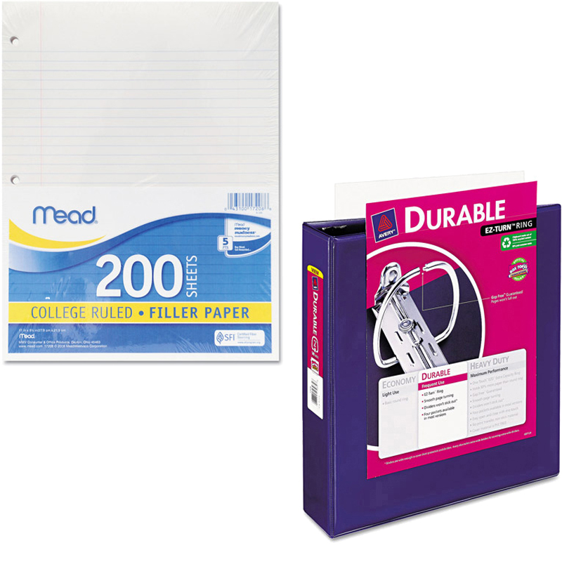 """Mead Filler Paper, College Ruled, 3-Hole Punched, 11 x 8-1/2, 200 Sheets Per Pack and Avery 1-1/2"""" Durable View Binder w/Nonlocking EZD Rings, 11"""" x 8 1/2"""" Bundle"""